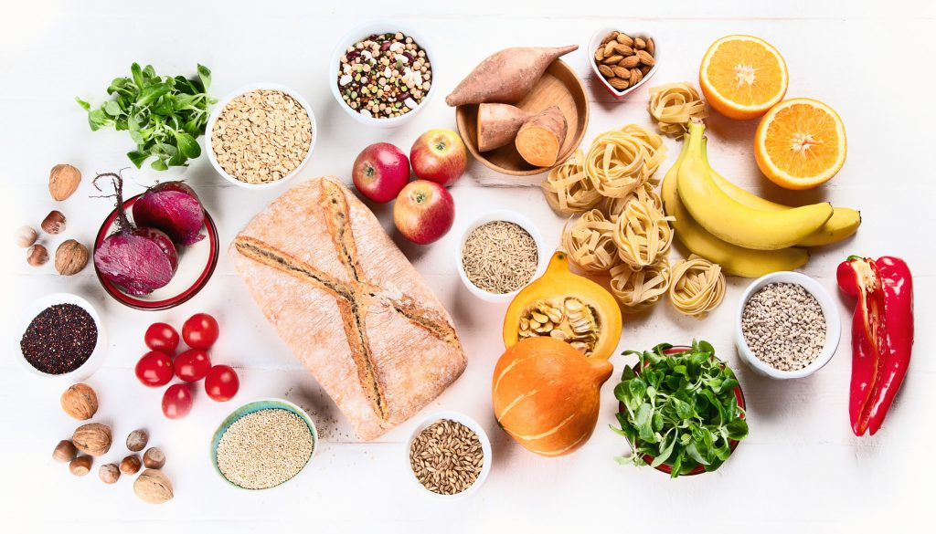 Foods high in carbohydrates. Healthy food. Top view